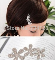 Barrettes & Clips asian plums - TS096 mix New Arrival Korea Rhinestone plum velvet with small hairpin sunflowers bow side clip hair accessories