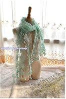 Wholesale Sale Mint Green Embroidered Lace Scarf Organza Sheer With Lace Fringes Tulle lace extra long Shawls Party White Blue Sarongs