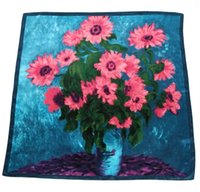 Cheap Van gogh sunflowers in Europe and the big oil painting satin large squares Female scarf scarves shawls 90*90cm 1#