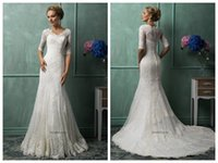 Cheap Gemma Tulle Mermaid Wedding Dresses Elegant 2015 V Neckline Half Sleeves Lace Appliques Covered Button Court Train Bridal Gowns Amelia Sposa