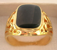 black onyx rings - Black Onyx K GP Yellow Gold Men s Ring Size Style free collocation a preferential prices