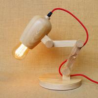 bedside adjustable table - Adjustable Handmade Wooden Lamp LED Nightlight American Vintage Wooden Bedside Table Lamp Creative Wooden Simple Modern Bedroom Study Lights