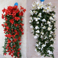 Wedding artificial pink lilies - Party Artificial Silk quot Lily Bracketplant Flower Vine Ivy Wall Hanging Basket Flowers Garland Plant Wedding Home Decoration
