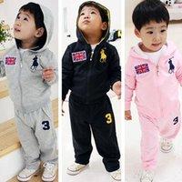 Cheap High Quality Cheap Kids Set Baby Polo Sport Suit Boys Girls Set Long Sleeve Shirt + Pant Sport Clothes Children Clothing
