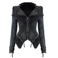 denim jacket - 2015 New Slim Denim Jacket Fashion Women Decorated Rivet Ladies Motorcycle Jacket Trench Coat Cool Outerwear Long sleeve Retro Top Quality