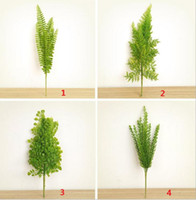 artificial ferns - 4 Types Lifelike Artificial Rustic Fresh Green Leaves Bush Fern Grass Plant Home Decorative Plants Party Decoration DT17