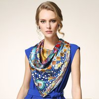 Wholesale 2015 new original design of high end women s silk scarves printed silk satin large square