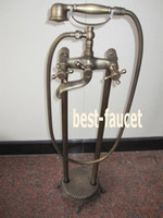 antique telephone stand - Telephone Free Standing Floor Mounted Clawfoot Bathtub Faucet Antique Shower Set Mixer
