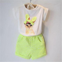 Cheap kids clothes Summer new Girls clothing set baby girl's clothes sets cartoon cat children kids T shirt + shorts the sport suit ADTZ012