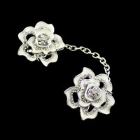 Wholesale Vintage Retro Jewelry Silver Color Alloy Flower Rhinestone Chain Brooches for Women