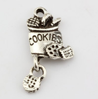 alloy cookies - Hot Antique Silver Alloy cookies Charm Pendant DIY Jewelry x mm