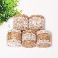 Wholesale 5 cm Natural Burlap Trim with Lace m