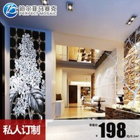 Wholesale Jade ice porcelain flowers fine cut crystal glass mosaic puzzle TV living room entrance backdrop tiling JH84