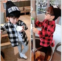 Wholesale Preppy Style Boys Turn down Collar Plaid Shirt Cotton Long Sleeve Kids Clothes T shirt Tops Children Shirts Casual Red Blackwhite BY0000