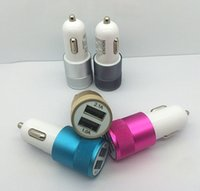 Wholesale USB Car Charger phone charger Adapter Mini Aluminum alloy Material A A Dual Port Universal For iphone ipad Samsung Galaxy S6 S5 note