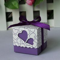 baby favours - Purple Heart Wedding Favor Candy Boxes with Ribbon Baby Shower Paper FAVOUR box gifts chocolate box