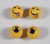 Wholesale 2014 new arrive novelty brass and ABS materialcar wheel tire valve cap stem smile tongue design retail price