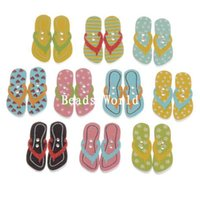 Wholesale Mixed Flip Flops Pattern Holes Wood Sewing Buttons Scrapbooking x10mm W04950