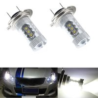 Wholesale Super Bright Headlight Bulbs - 2X H7 80W CREE LED Fog Tail Driving Car Head Light Lamp Bulb White Super Bright Led Car Fog Lights Bulb Car Headlight 360 Degree White Light