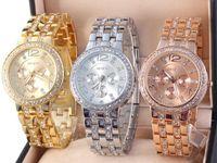 Fashion battery mic - 2014 MIC Luxury Geneva watches Brand Crystal stainless steel quartz watch women men fashion wristwatches best2011