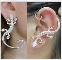 american lizard - Han edition popular nightclub stud earrings Set auger rose gold exaggerated gecko lizards star with the booth earrings earrings