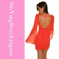 accented o - new elegant Long sleeve O neck Club Zipper Back Mesh Accent chiffon Dress Red High quanlity One piece Dress