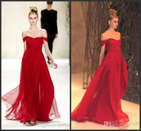 Wholesale New Arrival Sexy Red Evening Dresses Chiffon Long Women Off Shoulder Cheap Prom Dresses for Party Pageant Formal Dresses A Line Gowns