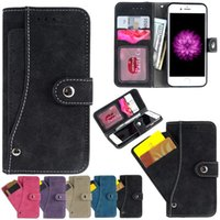bag fasteners - Multi Function Wallet Leather Case Pouch Photo ID Card Slot Money TPU BAG Snap fastener For Iphone S Plus I6S Skin Cover Luxury
