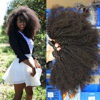 afro kinky human hair - 7A Grade Cheap Brazilian Malaysian Mongolian Indian Virgin Hair Wefts Afro Kinky Curly Hair Weaves Human Hair Extension Bundles