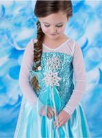 Wholesale Frozen Dress Snow Queen Princess Elsa Dresses Girls Dresse Long Sleeve Lace Gauze Sequin Dress Holiday Formal Party Dress