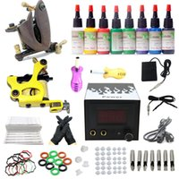 Wholesale USA Dispatch Tattoo Machine Gun Starter kits Inks Colors LCD Power Needle Tips Grips Equipment Sets freeshipping from USA warehouse