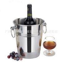 arm coolers - Stainless steel circular bucket bucket arm single luxury champagne bucket edge ring barrel ice bucket L