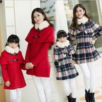 korean fashion clothing - 2015 Mother and Daughter Clothes Korean Fashion Wool Coat Cape Coats Family Clothing Red Winter Coat Girl Mother Daughter Match Coats