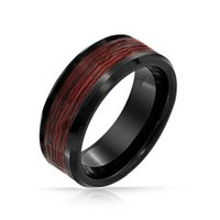 Wholesale new Hot sell mm Black Tungsten Wood Inlay Mens Ring bague mens rings anillos anel anillo anel masculino size