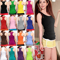 women tank top - 2015 Hottest Selling Women Girls Ladies Racerback Tank Tops Cami Mini Sleeveless Vest Waistcoat T Shirt ax2
