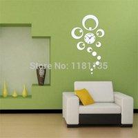 Cheap DIY Home Decorative Clock Ring Circle Reflection Mirror Wall Clock Watch Silver Free Shipping