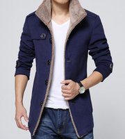 Wholesale Fall Winter new tide Fashion cultivate one s morality Men s collar single breasted woolen cloth coat