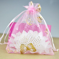 Wholesale High Quality x7cm Pink Bronzing Butterfly Pattern Organza Wedding Gift Candy Bags Jewelry Package Pouch