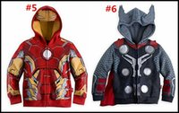 Wholesale 2015 kids cartoon cosplay jackets children Hoodies Sweatshirts superhero ironman holk Captain America Avenger boys cardigan J082503 LARGE
