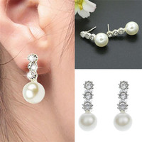 Cheap New Arrivals Women Lady Earrings Stud Ear Jewelry Imitation Pearl Rhinestone Crystal Alloy Elegant Gift GA22-01 Free Shipping