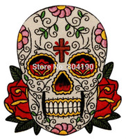 Wholesale 3 quot Candy Sugar Skull Roses Cross Tatoo Embroidered LOGO Iron On Patch Emo Goth Punk Rockabilly Customized patch available