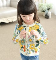 Wholesale Cardigan Sweaters For Children - Children Costume For Girls Fashion Big Flowers Printed Korean Kids Kint Cardigan Long Sleeve Round Collar Child Sweaters 90-140 K680