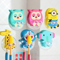 Wholesale Cute Cartoon Creative Owl Minions Wood Toothbrush Holder Bathroom Accessories Products Banheiro Tooth Brush Wall Sucker Hanging
