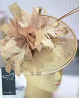 ascot - Fashion Sinamay headband fascinator hat with feather part flower kentucky derby ascot races melbourne cup