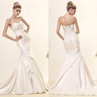 Cheap Gorgerous Applique Beaded Wedding Dresses Sweetheart Neckline Lace Up Bridal Gowns Floor Length Chiffon Mermaid Wedding Dress