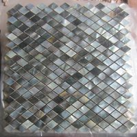 Wholesale Rhombus Black lip Shell Mosaic Tile on Mesh with Ceramic Tile Base backsplash bathroom tv backgroud wall