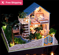 Wholesale Large size Assembling DIY Miniature Model Kit Wooden Doll House Furnitures romantic lover dream casa de boneca Christmas Gift