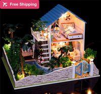 Precio de Amante de bricolaje de madera montar-Montaje de gran tamaño miniatura DIY kit modelo de madera de casas de muñecas Muebles amante romántico sueño casa de boneca regalo de Navidad