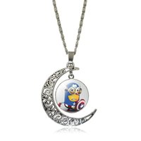 animal jewelry for people - Cute yellow minions people moon hollow carved gemstone necklace Jewelry Chirstmas Gifts for women mix order