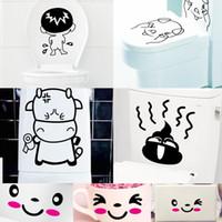 Wholesale 7pcs Per Set Creative Funny Toilet Decor Art Mural Sticker Cute Cartoon Art Decal for Washroom Restroom WC Toilet Decoration Poster